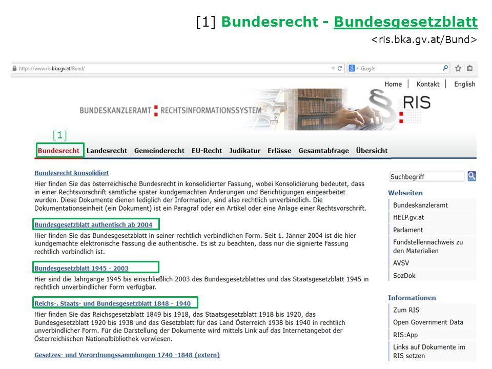 [1] Bundesrecht - Bundesgesetzblatt <ris.bka.gv.at/Bund>